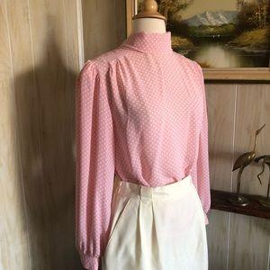 Vintage Pink Polka Dot Blouse